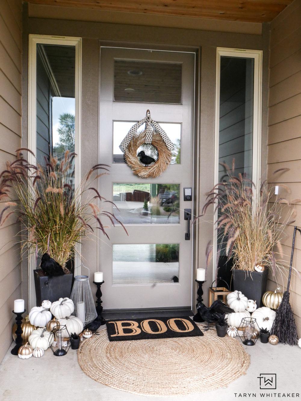 @tarynwhiteaker_designs's cover photo for 'Black and White Halloween Porch Decorations - Taryn Whiteaker'