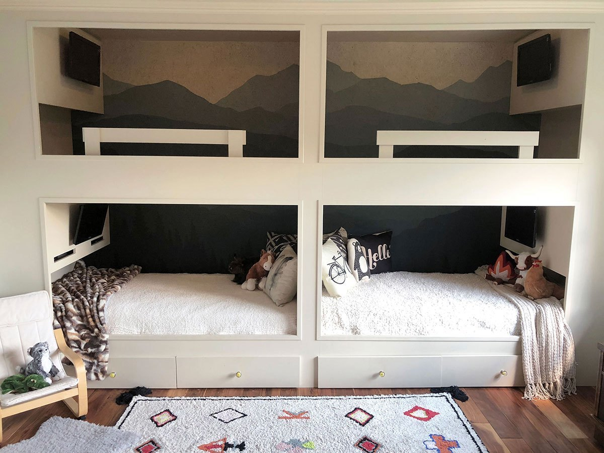 @theokiehome's cover photo for 'Easy DIY: Removable Wall Mural in Boy's Bunk Room - The Okie Home'
