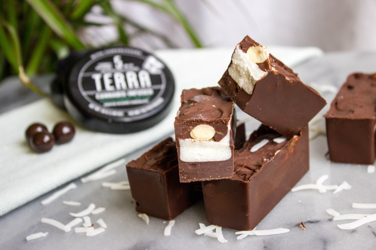 @thebaconprincessblog's cover photo for 'Cannabis-Infused Peppermint AlmondJoy'