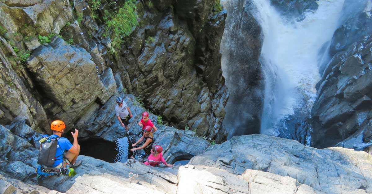@guide2travel.ca's cover photo for 'Rock climbing in Canyon Sainte-Anne, outside Quebec City, Quebec!'