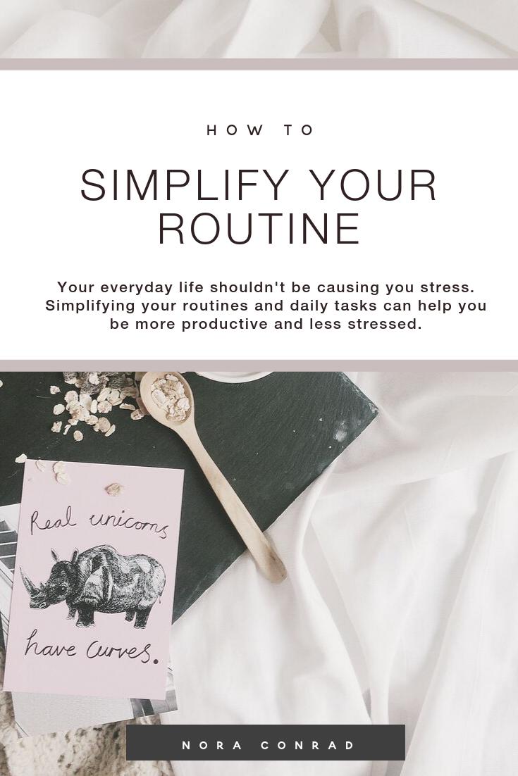 @noraconradcom's cover photo for 'simplify your routine — Nora Conrad'