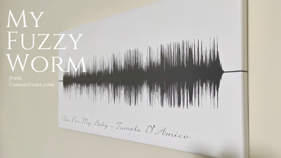 @tameladamico's cover photo for 'Check out my Fuzzy Worm! - CanvasVows Soundwave Art'