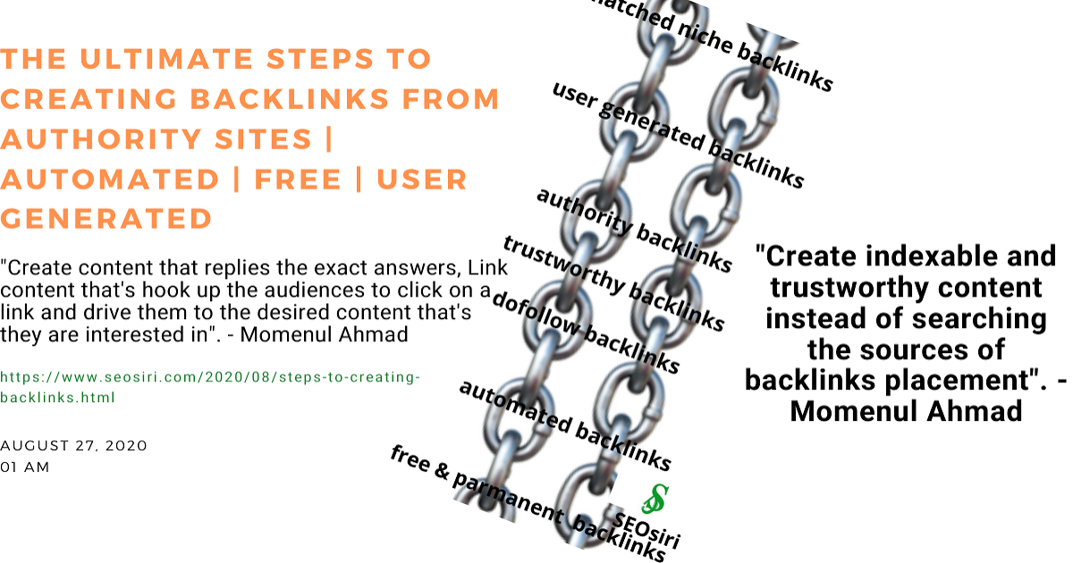 @momenulahmad's cover photo for 'The ultimate steps to creating backlinks from authority sites | Automated | Free | User Generated and Trustworthy'