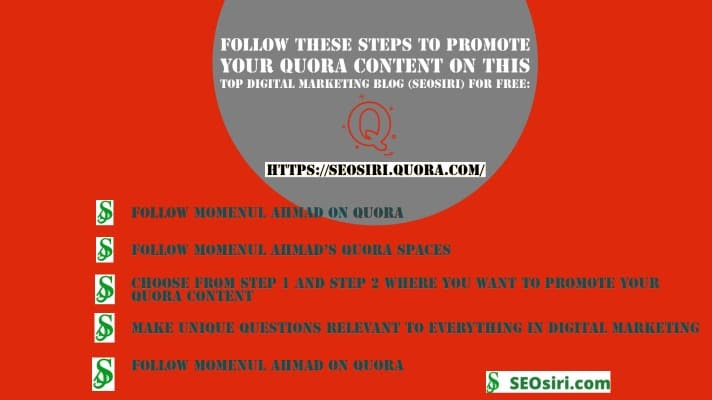 @momenulahmad's cover photo for 'How do I promote Quora Content on the top digital marketing blog for free?'