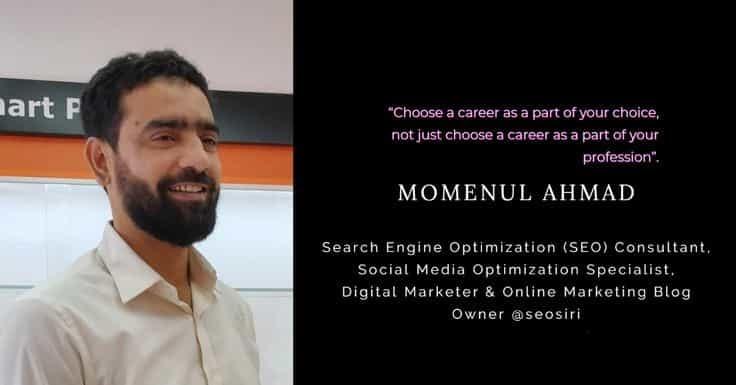@momenulahmad's cover photo for 'Career in digital marketing   SEOsiri'