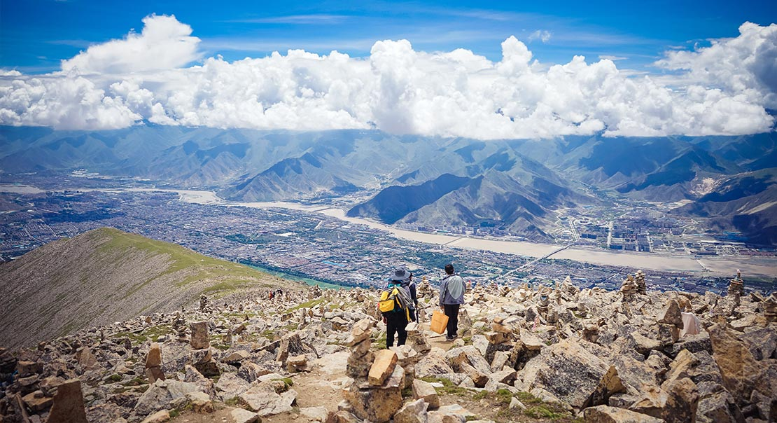 @nomadictibet's cover photo for 'Hiking on Gephel Utse in Lhasa'