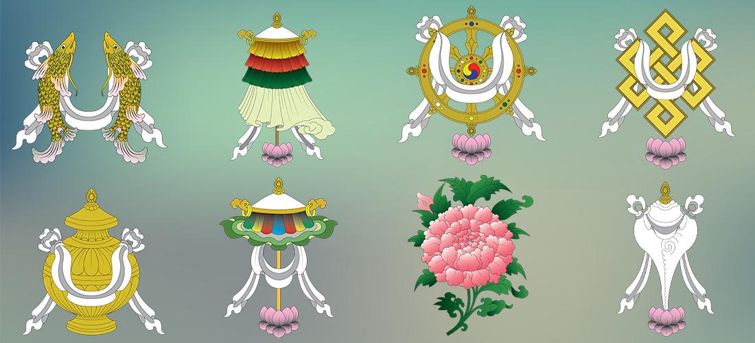 @nomadictibet's cover photo for 'Tashi Tagye ( Eight Auspicious Symbols)'